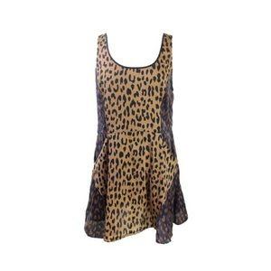 Rachel Roy Camel Leopard Print silk like dress